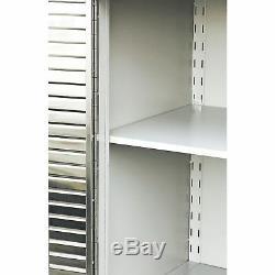 Garage Cabinet Heavy Duty Rolling 2 Door Stainless Steel Tool Storage Wood Top