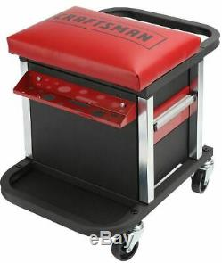 Garage Glider Sliding Rolling Portable Tool Box Chest Seat Red Mechanic Stool