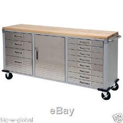 Garage Rolling Metal Steel Tool Box Storage Cabinet Wooden Workbench 12 Drawers