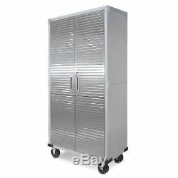 Garage Rolling Tool Storage Cabinet Tall Metal Stainless Steel Doors Shelving HD