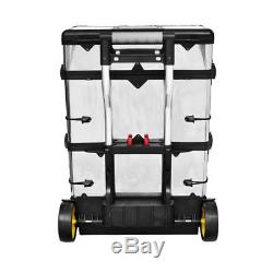 Handy 3 Part ROLLING Tool Box With 2 Wheels STAINLESS STEEL Accessories Storage