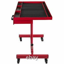 Heavy Duty Adjustable Work Table Bench, 200 lbs Rolling Tool Cart Tray With Wheel