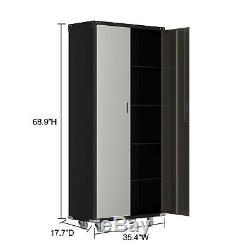 Heavy Duty Garage Steel Rolling Tool Storage Office Cabinet Shelving Doors