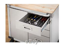 Heavy Duty Rolling Cabinet Tool Storage Small Chest Metal Wood Top Box 4 Drawers