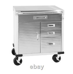 Heavy Duty Rolling Locking Cabinet Drawers Stainless Steel Top Adjustable Shelf