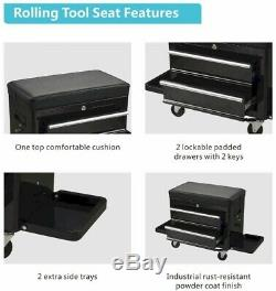 Heritage 28 Mechanics Tool Storage Utility Cart with Rolling Tool Seat WC2801S
