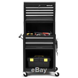 High Capacity 6-Drawer Rolling Tool Chest Home Cabinet Toolbox Combo with Riser
