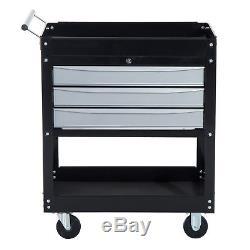 HomCom 3 Drawers Rolling Tool Cart Storage Cabinet Mechanic Tool Box