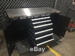 Homak 60 Inch Black Stainless Steel 60 Rolling Work Station Tool Box Cabinet