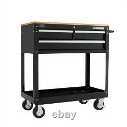 Husky 36 in. 3-Drawer Rolling Tool Cart with Wood Top, Black