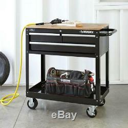 Husky 36 in. W 3-Drawer Rolling Tool Cart in Gloss Black with Hardwood Top