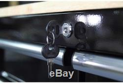 Husky Rolling Tool Cart 3 Drawer Solid Wood Top 36 in. Utility Storage Black