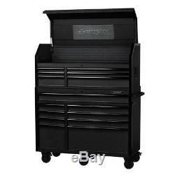 Husky Tool Chest Rolling Cabinet Set 15-Drawer 52 in. W Matte Black