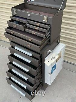 Kennedy Tool Box #9 Model 206 & 520 Bottom Rolling And Top Tool Boxes Brown