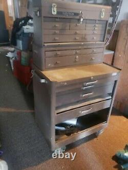 Kennedy Vintage Machinist Rolling Tool Chest Box 3 Sections Brown Steel