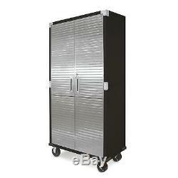 Lockable Metal Rolling Tall Storage Cabinet Shelving Stainless Steel Doors Black