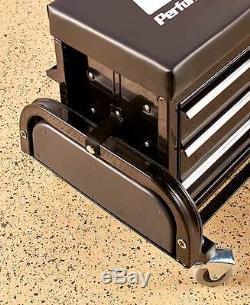 Mechanic Garage Rolling Work Seat Chair Bench Toolbox Bin Storage Organizer Cart