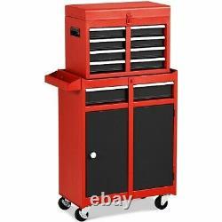 Mechanic Rolling Tool Cart Chest Cabinet 5 Sliding Drawers Storage Garage Black