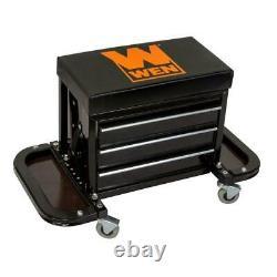 Mechanic Stool Rolling Tool Chest Seat Cabinet Roller Storage Garage Work Shop