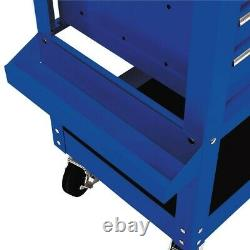 Mechanic Tool Cart 5 Drawer 30 Rolling Built In Toolbox With Swivel Caster Blue