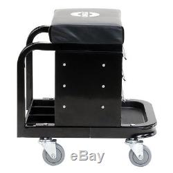 Mechanics Creeper Seat Rolling Chair Tool Box Mechanic Garage Work Shop Stool