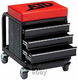 Mechanics Red Work Stool Garage Seat Creeper Shop Rolling Toolbox Glider Storage