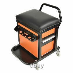 Mechanics Rolling Seat Creeper Garage Stool Shop Car Work Tool Box Chest Storage