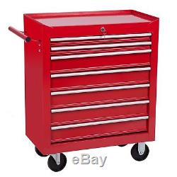 Merax 7 Drawer Tool Cabinet Tool Box Storage Chest with Rolling Casters red