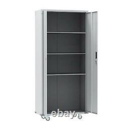 Metal Rolling Garage Tool Box Storage Cabinet Shelving Doors with4 shelves & Wheel