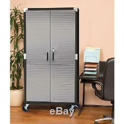 Metal Rolling Garage Tool File Storage Cabinet Stainless Steel Doors