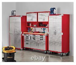 Metal Rolling Garage Tool File Storage Cabinet Stainless Steel Doors Color Red