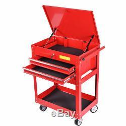 Metal Rolling Tool Cart 2 Drawer Cabinet Storage ToolBox Portable Mechanic Lock