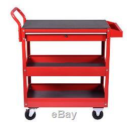 Metal Rolling Tool Cart Storage Chest Box Wheels Storage Trays with Locking Drawer