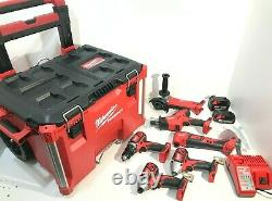 Milwaukee 2698-26 M18 18V 6 Tool Combo Kit with 2 Batteries Packout Rolling Box LN