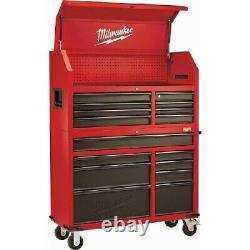 Milwaukee 46 16-Drawer Steel Tool Chest and Rolling Cabinet Set, Textured Red