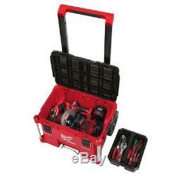Milwaukee PACKOUT Rolling Tool Box 22 in. 250 lb Weight Capacity Tray Latches