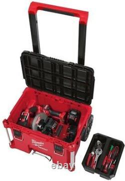 Milwaukee Tool Box Storage 22 in. Portable Lockable Water Resistant Wheel Red