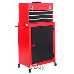 Mini Tool Box Chest Rolling Cabinet Storage Top Detach 3-Drawer Red Garage Shop