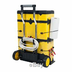 Mobile Rolling Stacking Portable Metal Trolley Wheeled Tool Box Chest Organizer