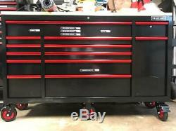 Mobile Tool Chest Workstation Bench Cabinet Wood Top 65in Rolling Garage Storage