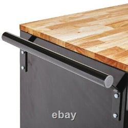 Mobile Workbench Tool Workstation Rolling Storage Cabinet With Solid Wood Top