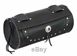 Motorcycle PU Leather Saddle Luggage Motorbike Bag with Tool Roll Box Touring