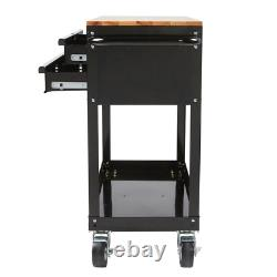 NEW HUSKY Black Rolling Tool Cart 36 3-Drawer With Wood Top Push-Bar Side Handle