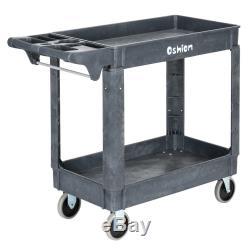 Plastic Utility Service Cart 500 lb Capacity 2 Shelf Rolling Shop Garden Tool
