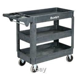 Plastic Utility Service Cart 500lb Capacity 3 Shelf Rolling Warehouse Shop Tool