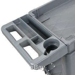 Plastic Utility Service Cart 550 LBS Capacity 2 Shelves Rolling 40 x 17 x 33