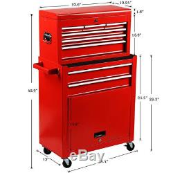 Portable Top Chest Tool Storage Box Cabinet Sliding Drawers 2 in 1 Rolling Red