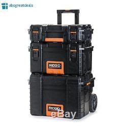 RIDGID Portable Tool Storage Box Organizer Rolling Cart Case Chest 3 Piece Set