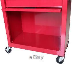 Red 2 Piece Rolling Tool Box Chest Cart Metal 6 Drawer Garage Storage Locking