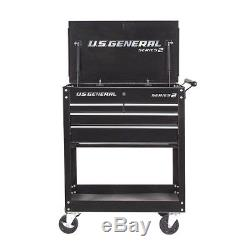 Roll Around 30 In. 4 Drawer Rolling Tool Box Storage Chest Cabinet Cart Black